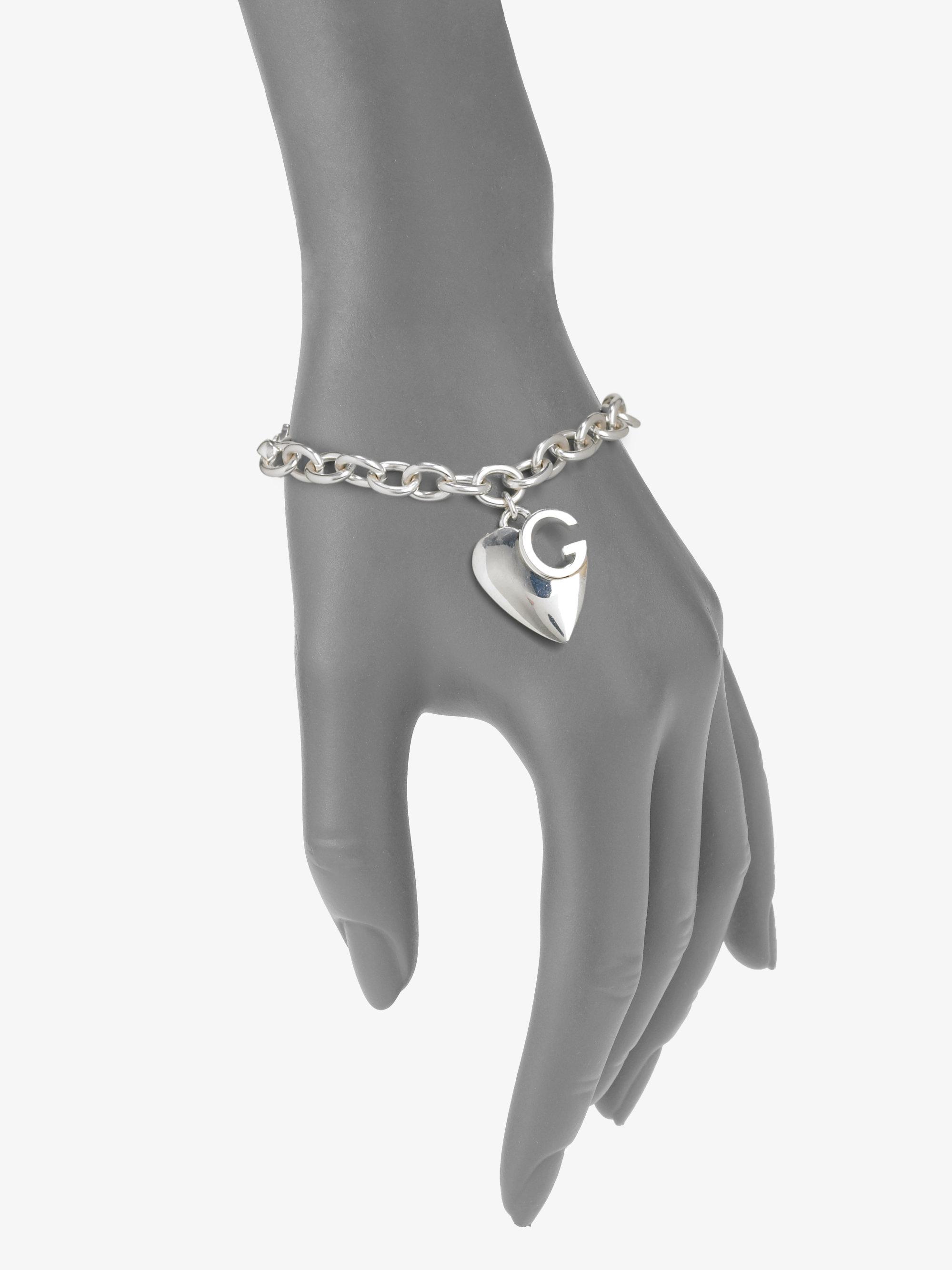 Gucci Sterling Silver Heart Charm Bracelet in Metallic