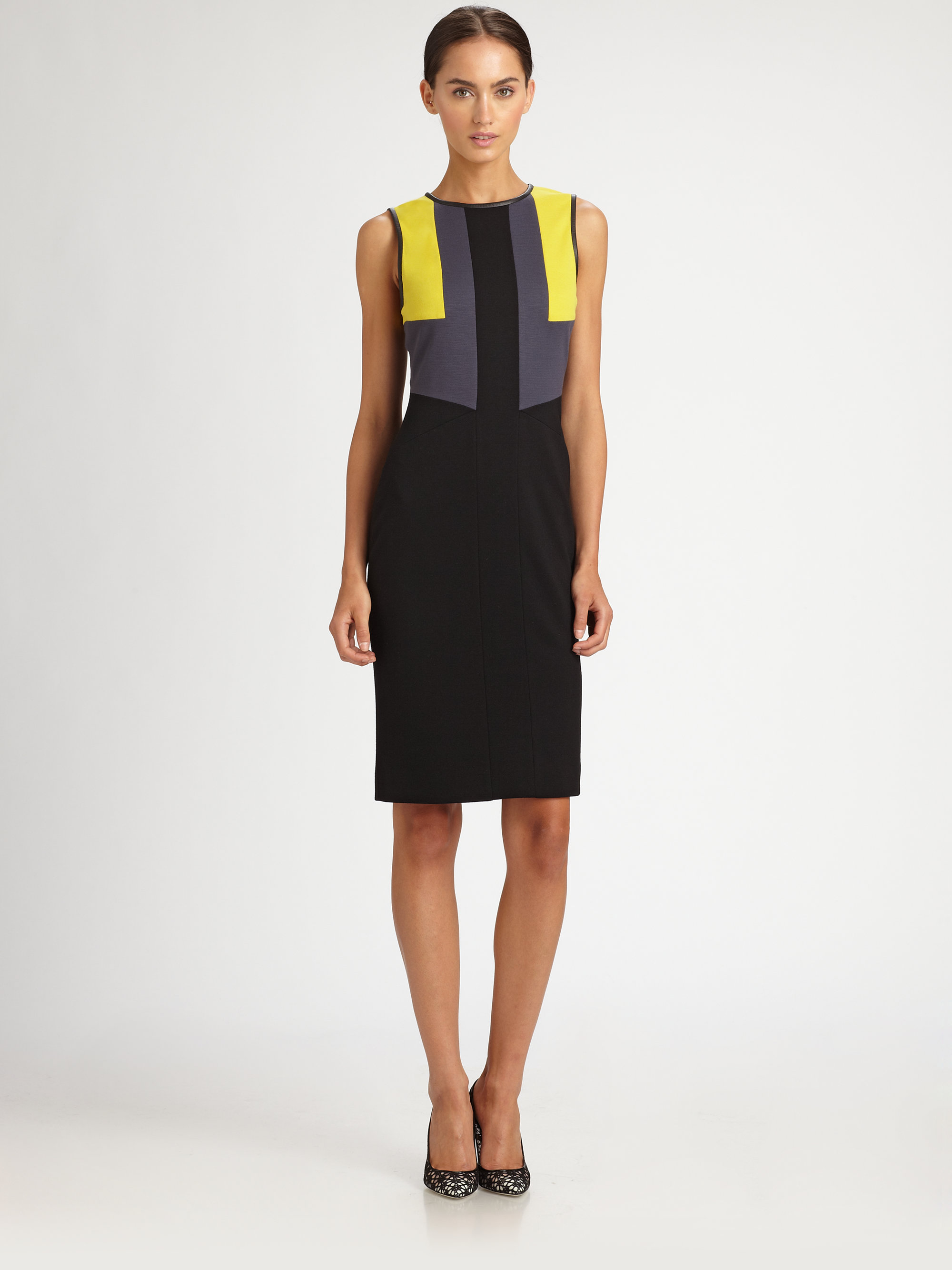 Jason WuWomen's Black Colorblock Jersey Dress