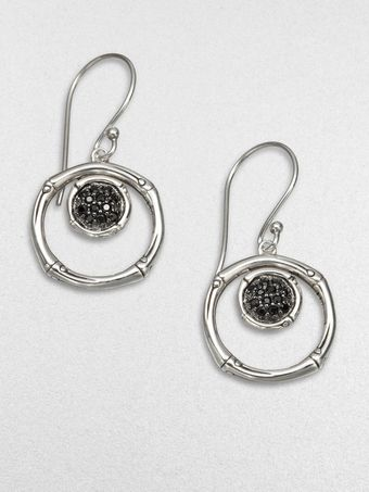 John Hardy Black Sapphire and Sterling Silver Drop Earrings - Lyst