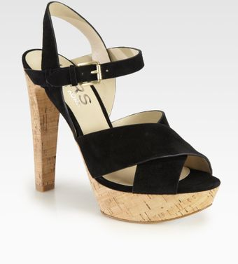 Kors By Michael Kors Adair Suede Cork Platform Sandals - Lyst