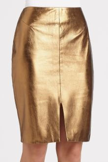 L'Agence Metallic Leather Pencil Skirt - Lyst