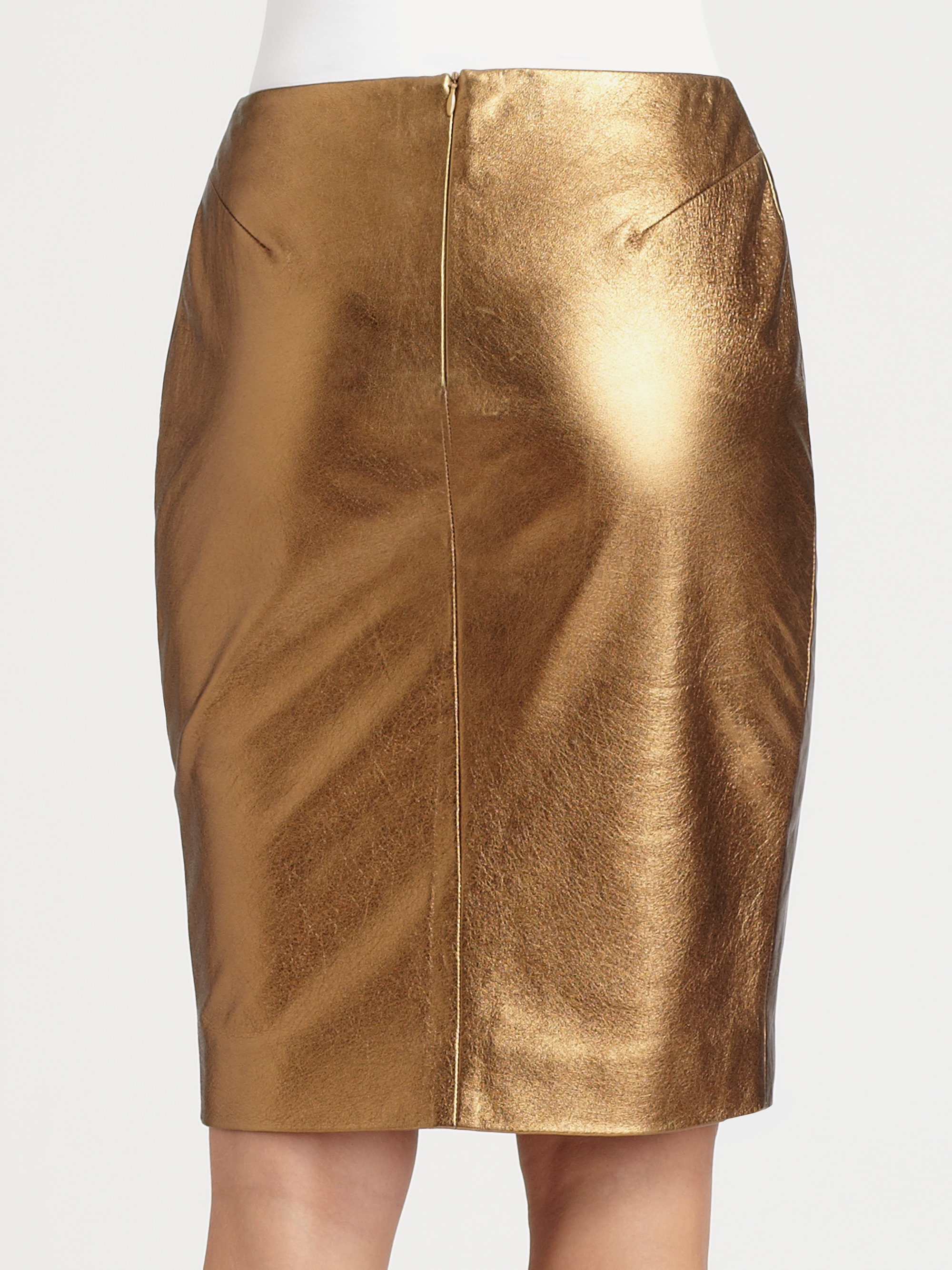 l agence metallic leather pencil skirt in gold copper lyst