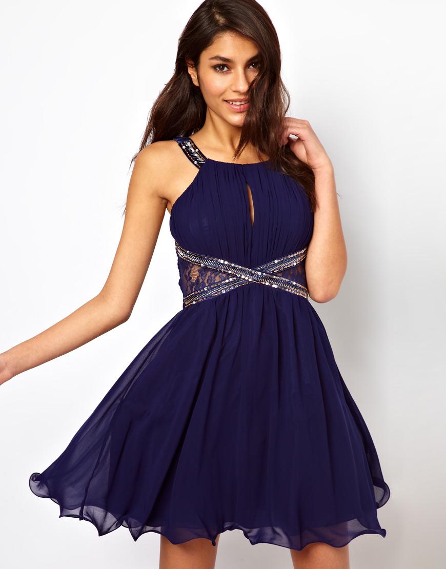 Lyst Little Mistress Lace Insert Embellished Prom Dress