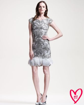Marchesa Couture Bg 111th Anniversary Feathertrim Cocktail Dress - Lyst