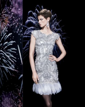 Marchesa Couture Bg 111th Anniversary Feathertrim Cocktail D - Lyst