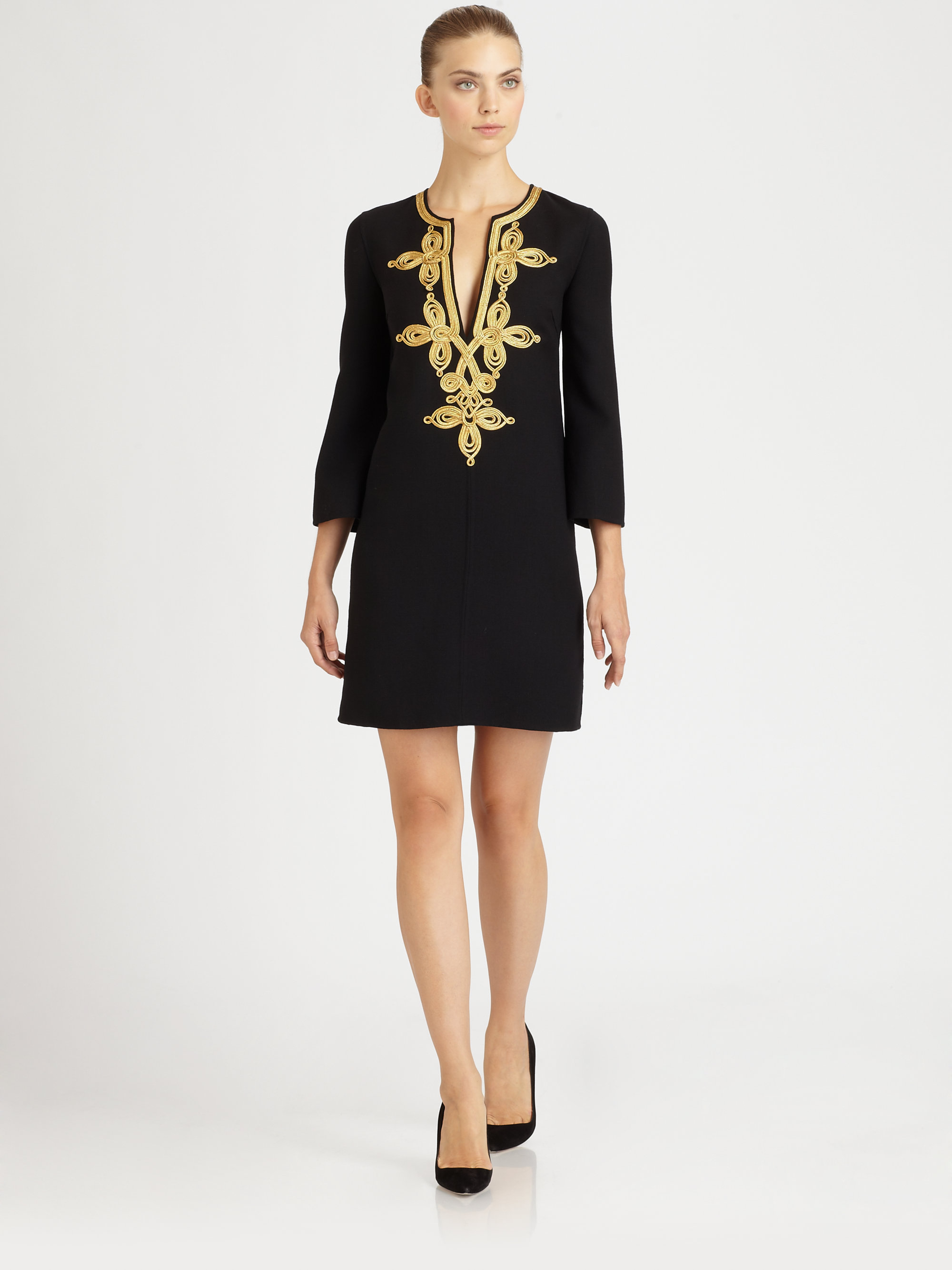 Michael Kors Embroidered Wool Dress In Black Lyst