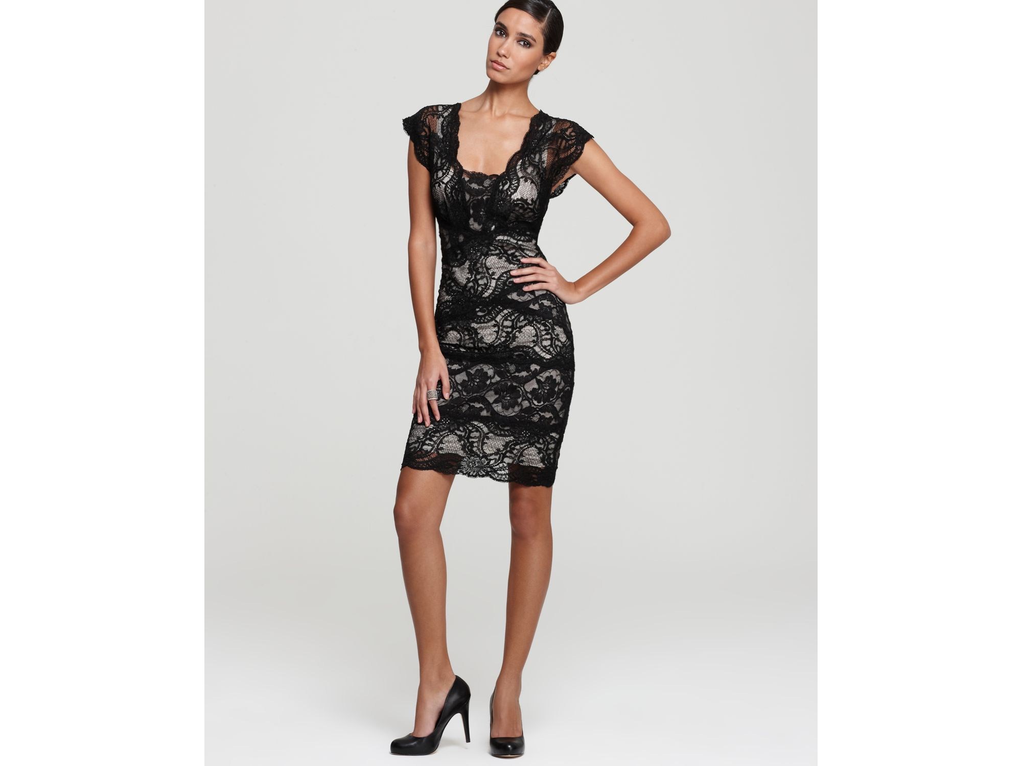 Nicole miller Lace Dress Double V Neck in Black | Lyst