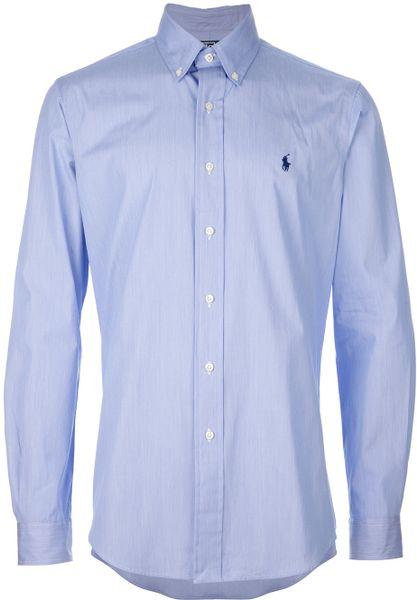 Polo ralph lauren custom fit dress shirt in blue for men for Custom fit dress shirts