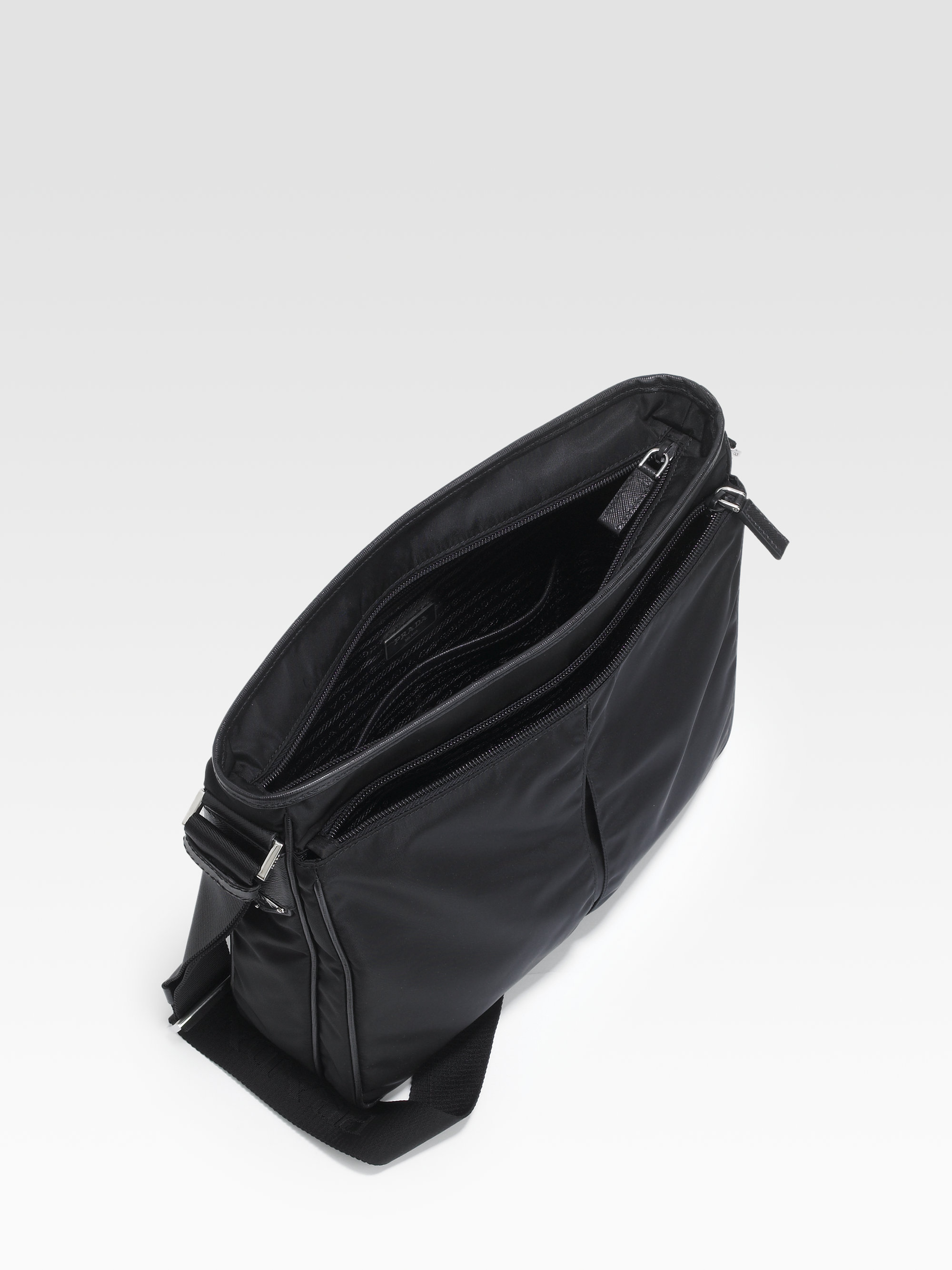 5c70b9c335e discount lyst prada nylon large crossbody bag in black for men a594a 3a848