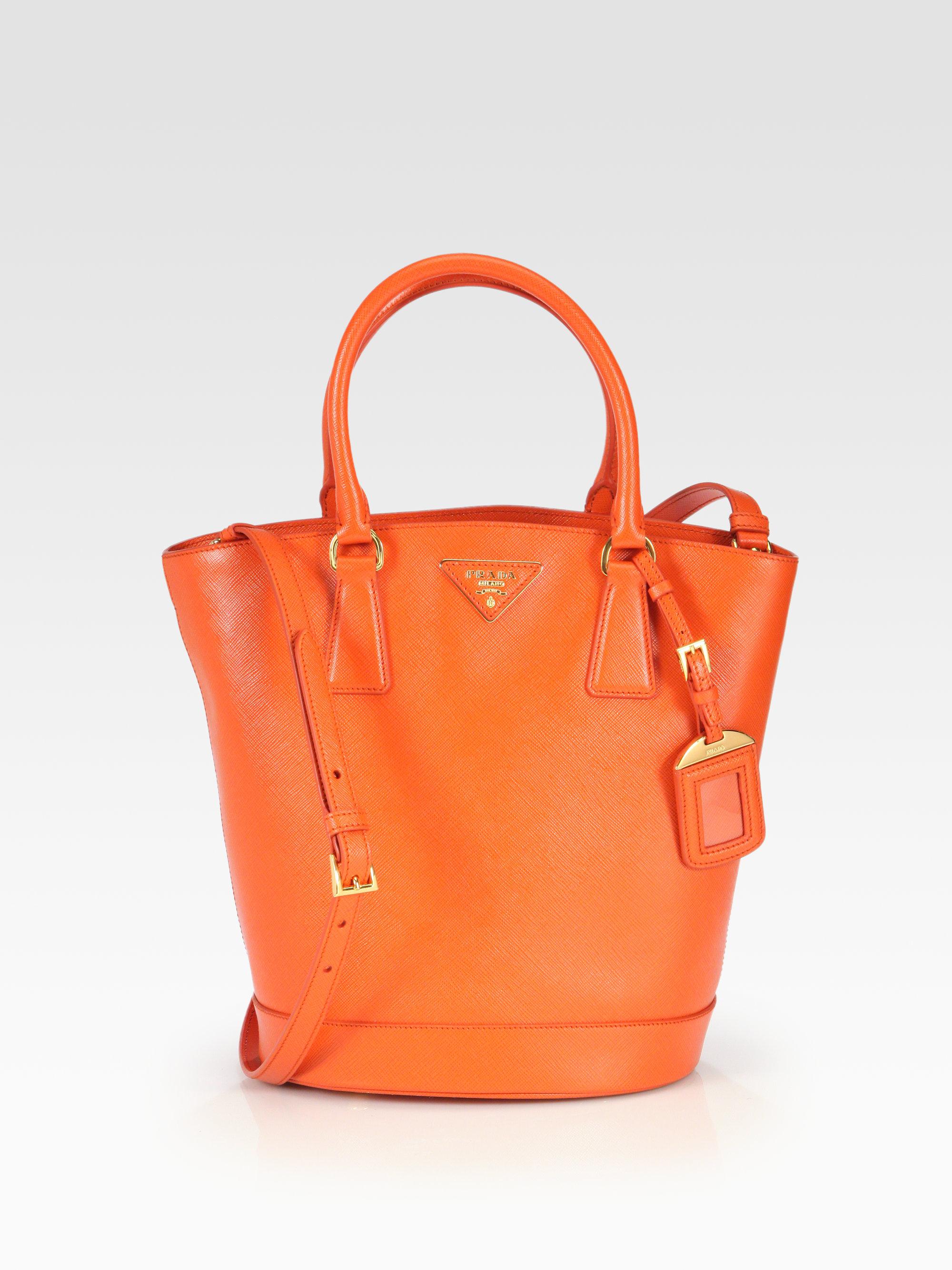 c0614412573509 Prada Saffiano Lux Convertible Bucket Bag in Orange - Lyst