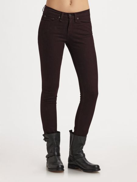 Rag & Bone The Skinny Jeans in Brown (wine) - Lyst
