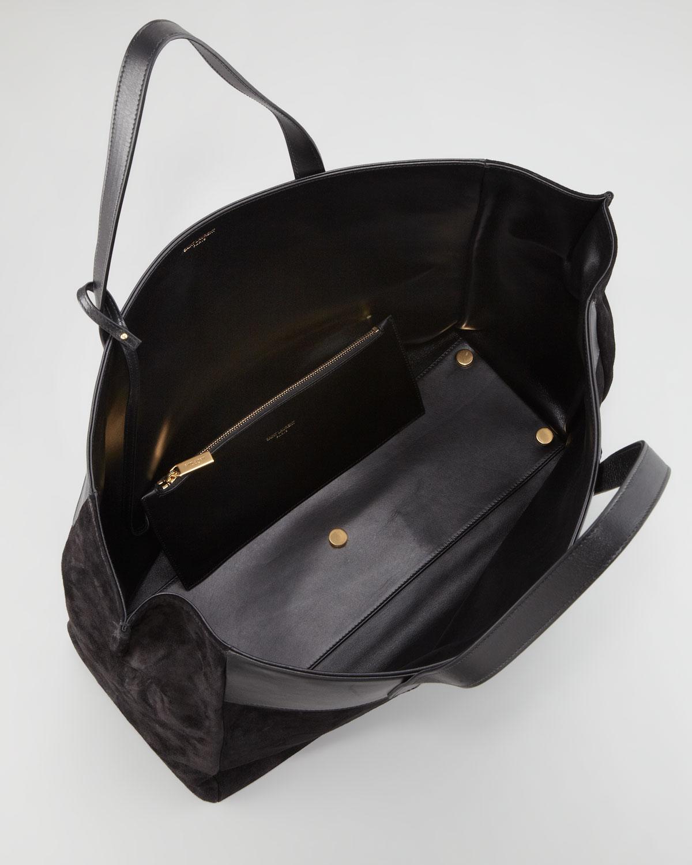 35a8b4735b0f Lyst - Saint Laurent Reversible Leathersuede Eastwest Tote Bag Black ...