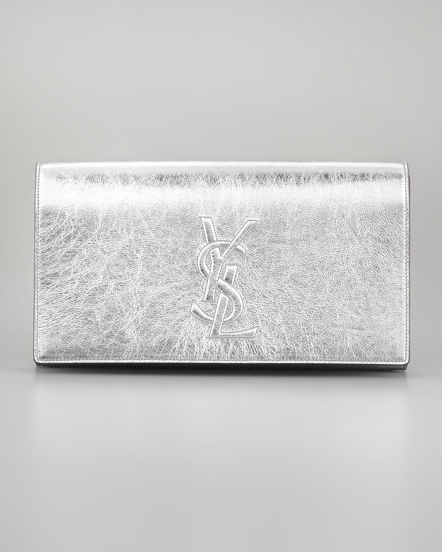 f0852bfd5e39 Lyst - Saint Laurent Belle Du Jour Clutch Bag in Metallic
