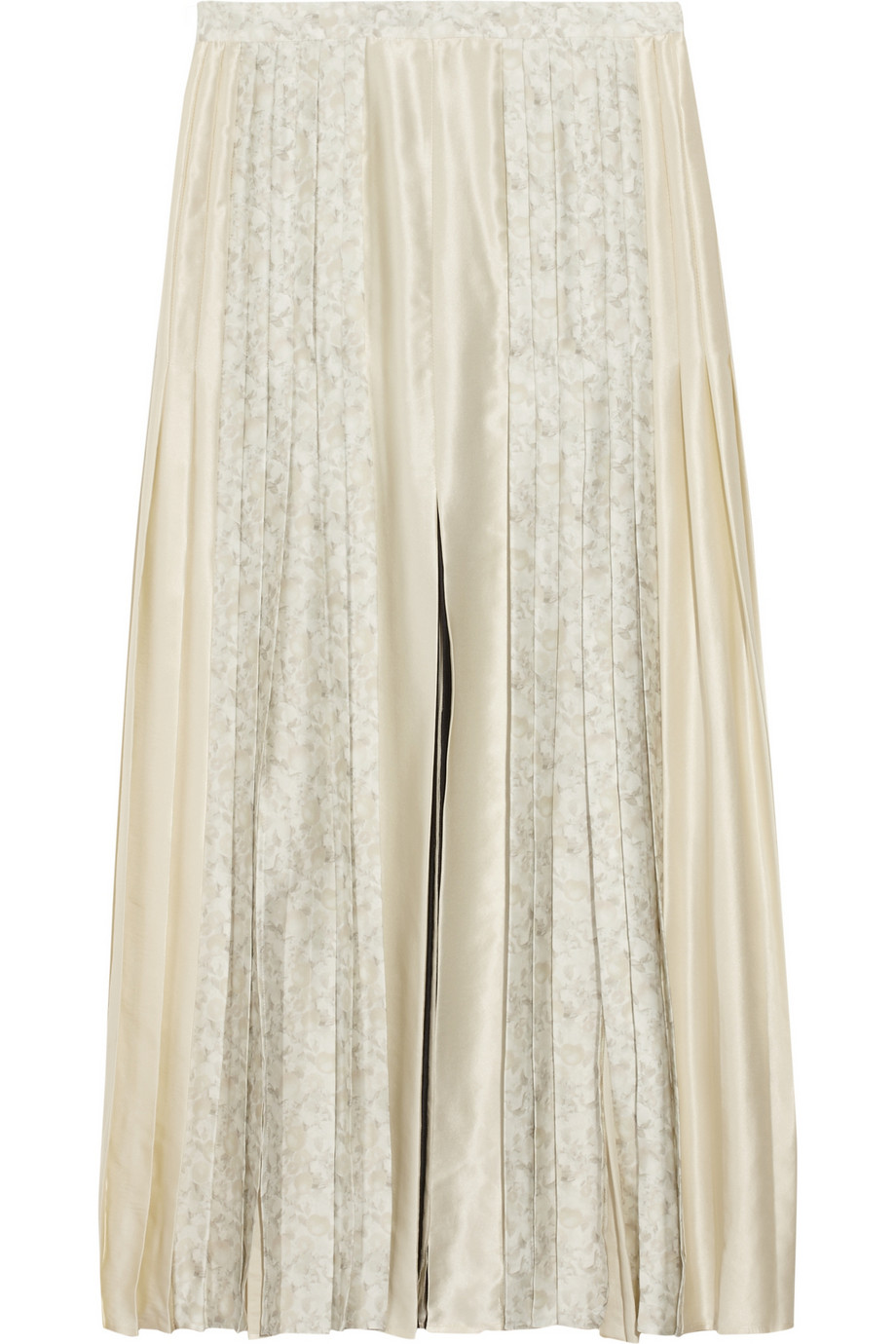 Stella mccartney Pleated Silk Midi Skirt in Natural | Lyst