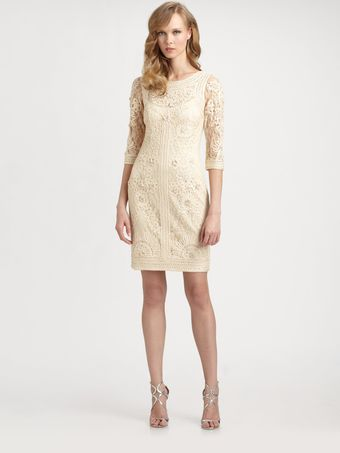 Sue Wong Embroidered Illusion Dress - Lyst