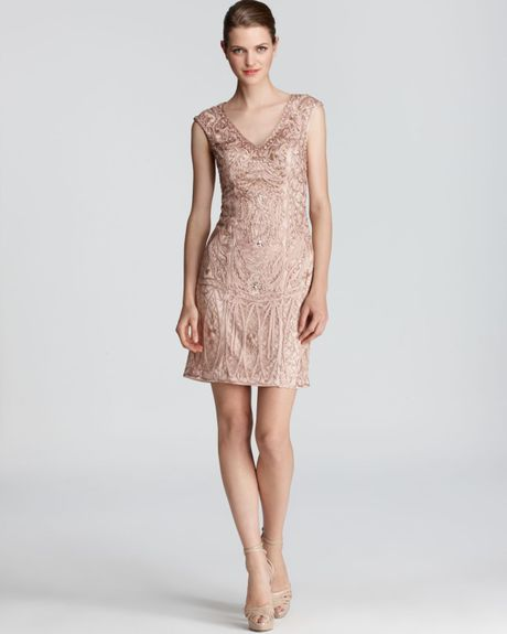 Sue Wong Dress Keyhole Back Dress In Pink (champagne)