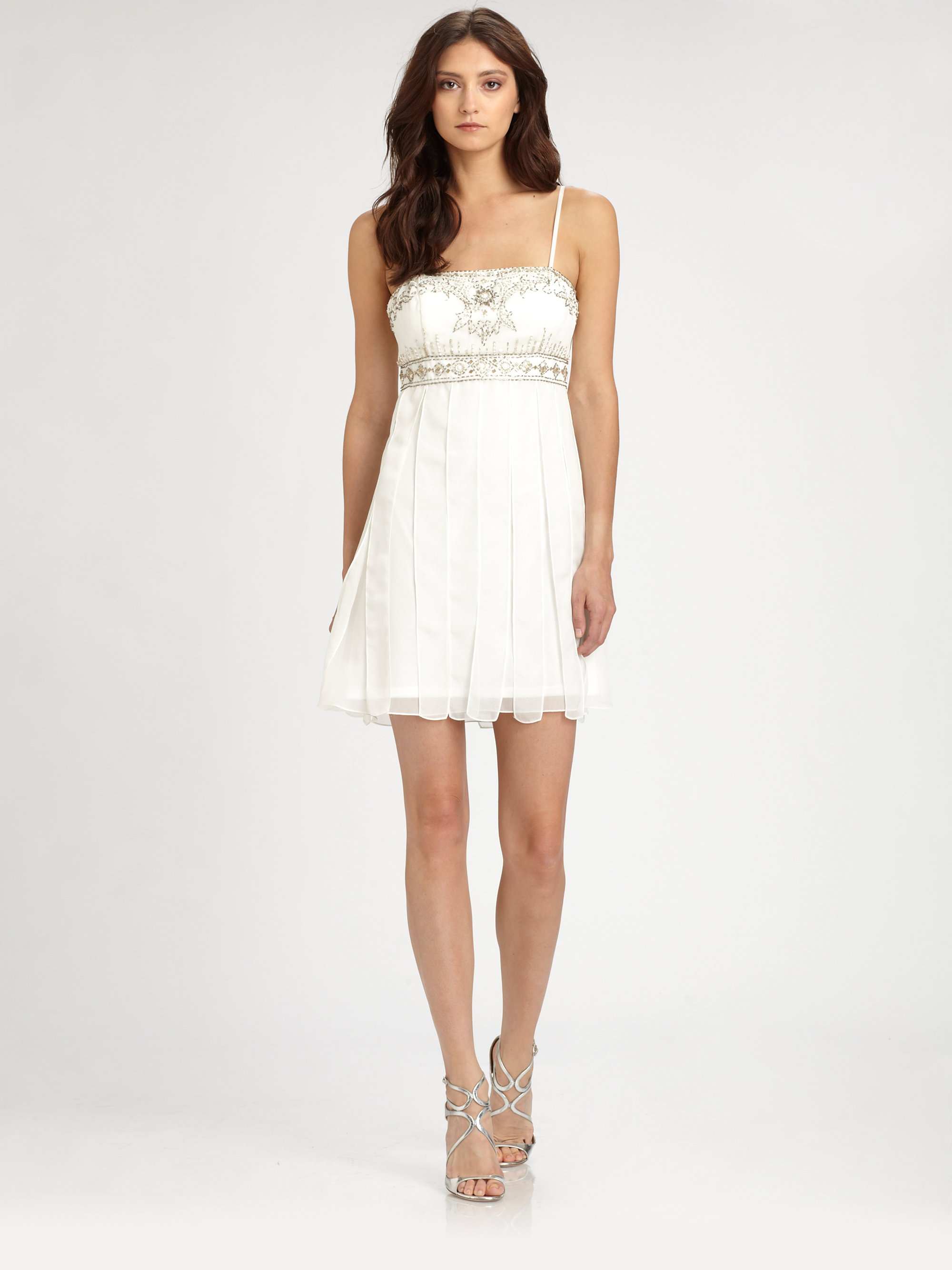 Sue wong Beaded Babydoll Dress in White - Lyst
