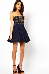 Tfnc Prom Dress with Jewel Bustier in Blue (navy) - Lyst