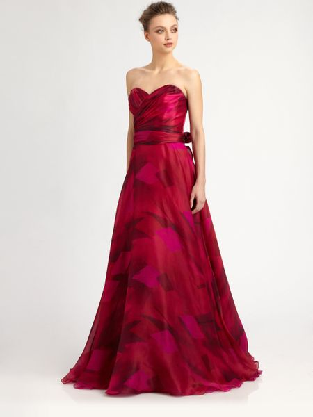 Theia Strapless Silk Organza Ball Gown In Red Fuchsia Lyst