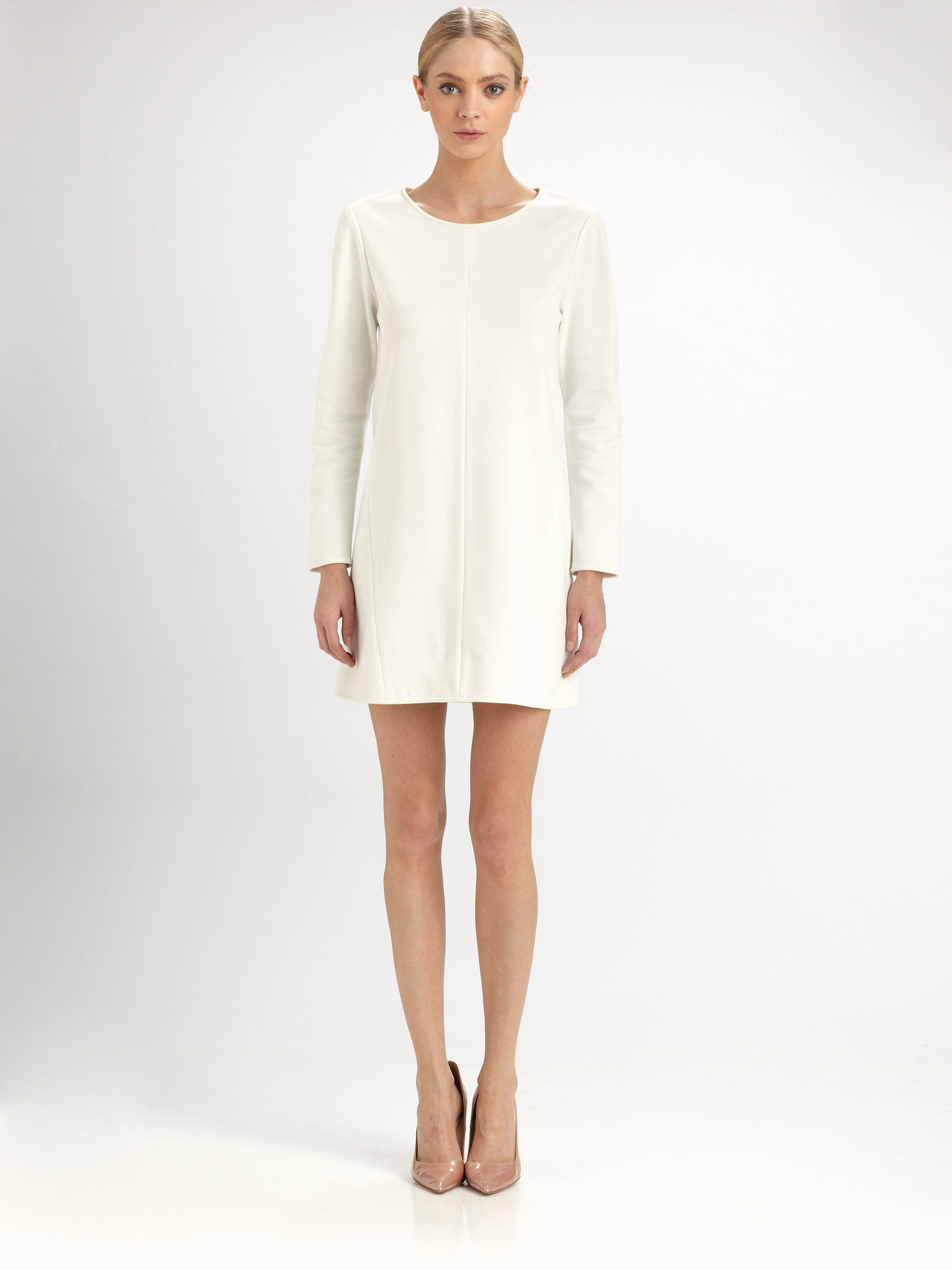 Tibi shift dress white pants