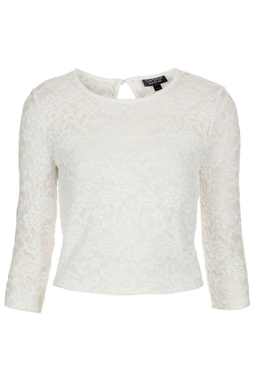Lyst topshop floral lace crop top in white gallery mightylinksfo