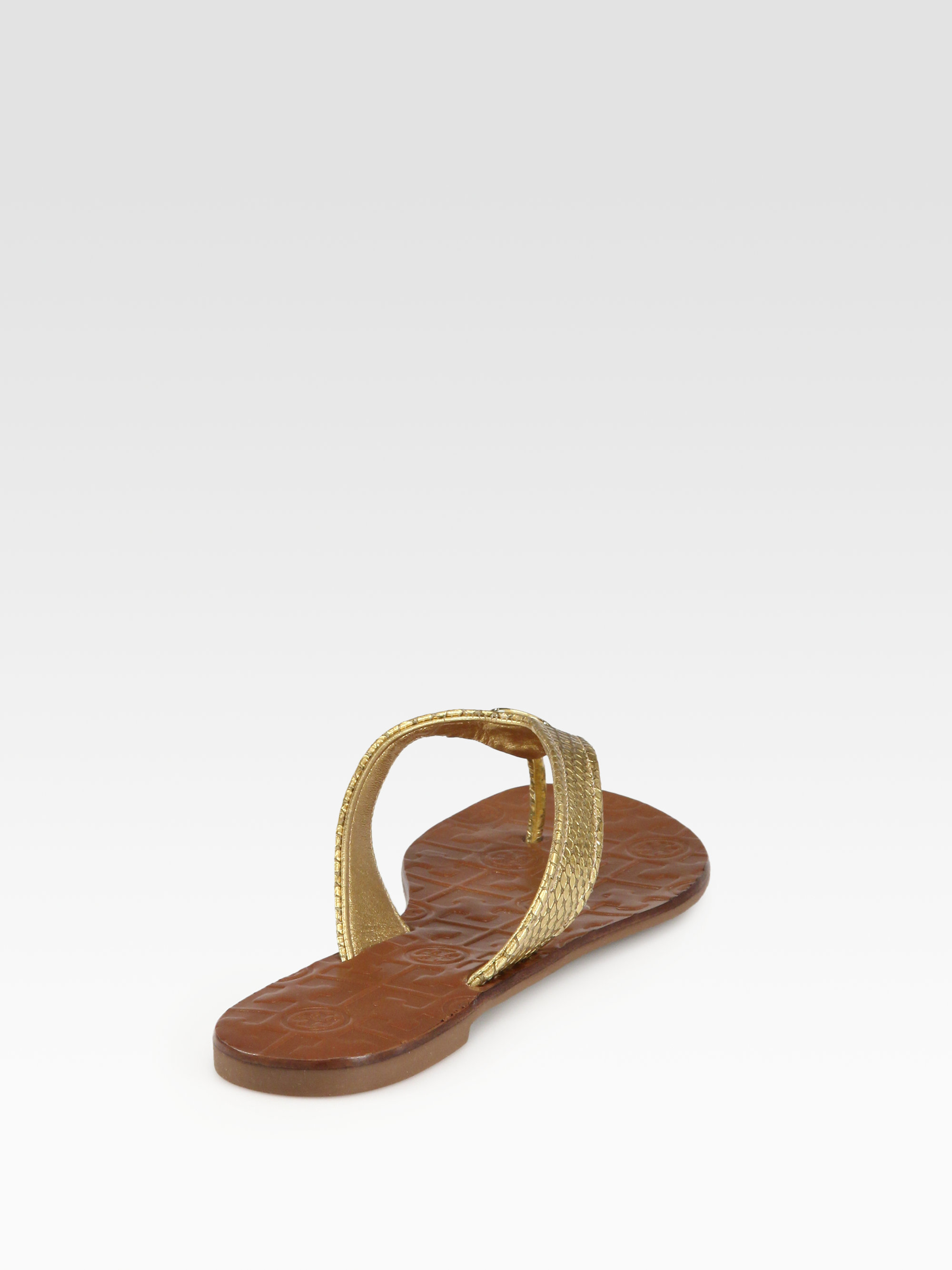 4fc61c32282b Lyst - Tory Burch Thora Metallic Snakeprint Leather Thong Sandals in ...