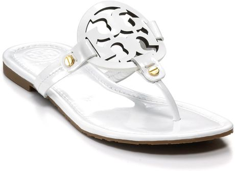 Tory Burch Sandals Miller Thong In White Sand Patent