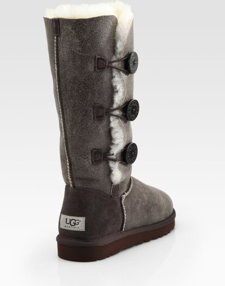 Ugg Tall Bailey Button Triplet Suede Sheepskin Boots In