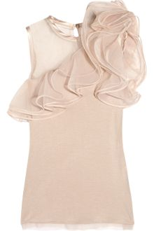 Valentino Jersey and Ruffled Tulle Top - Lyst