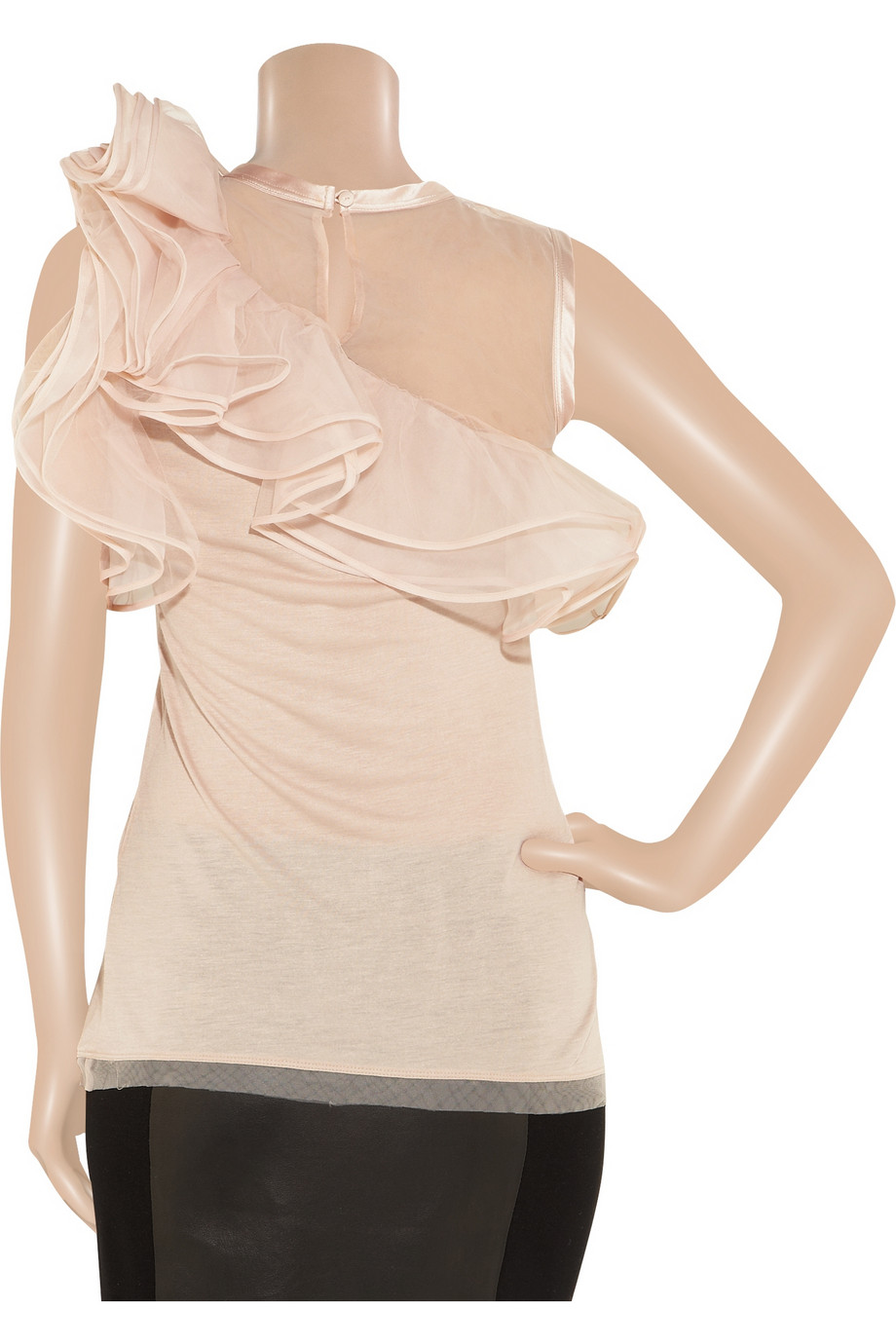 Nada Mobile App >> Lyst - Valentino Jersey and Ruffled Tulle Top in Pink