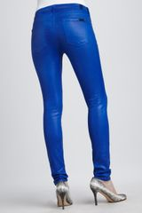 7 For All Mankind Skinny Highshine Gummy Jeans in Blue (bright colbalt) - Lyst
