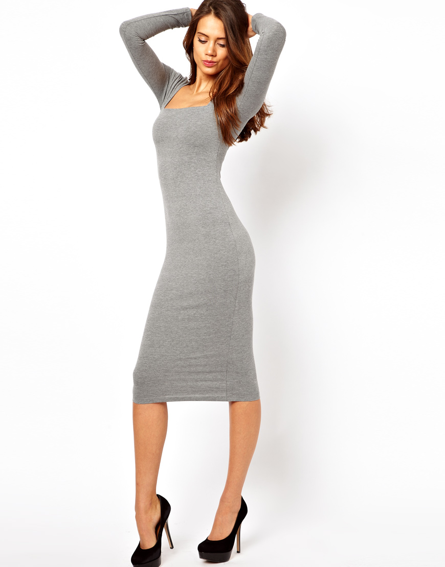 509c21edda353 ASOS Midi Bodycon Dress with Square Neck and Long Sleeves in Gray - Lyst