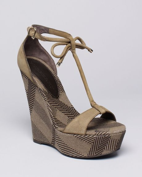 Burberry Platform Wedge Sandals Lingards In Brown Amber