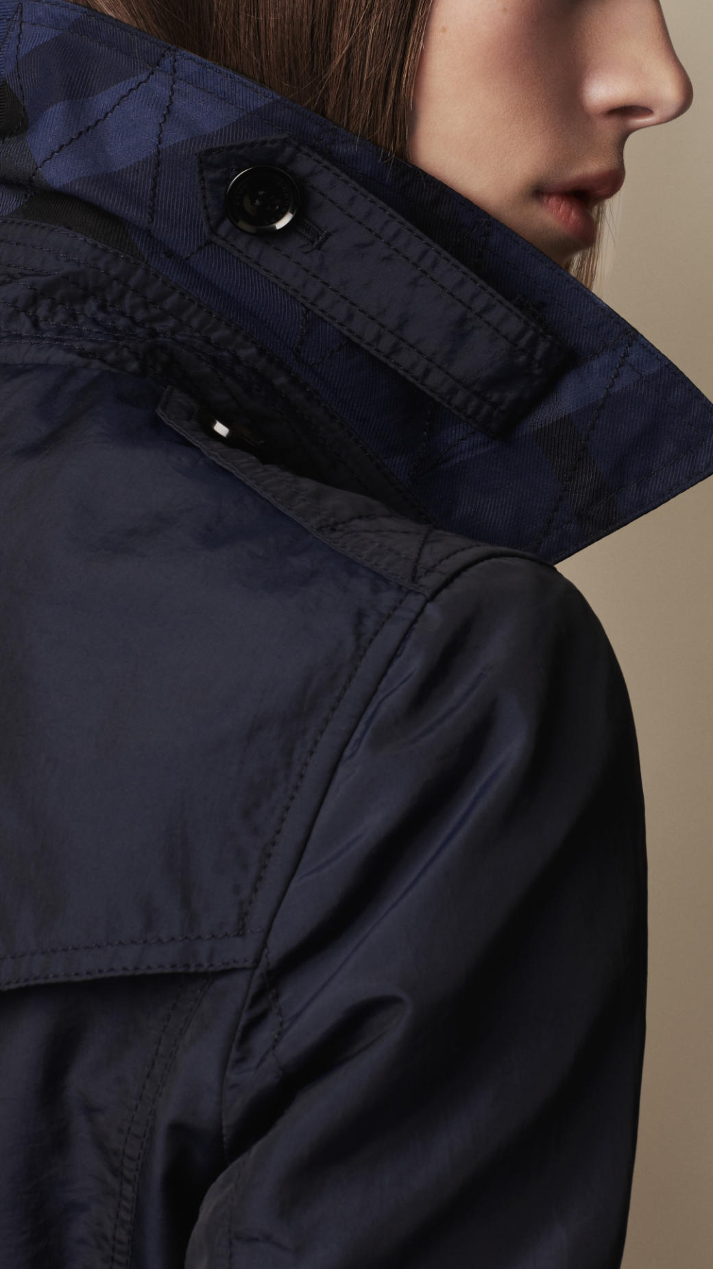 Burberry Brit Short Technical Silk Trench Coat In Blue