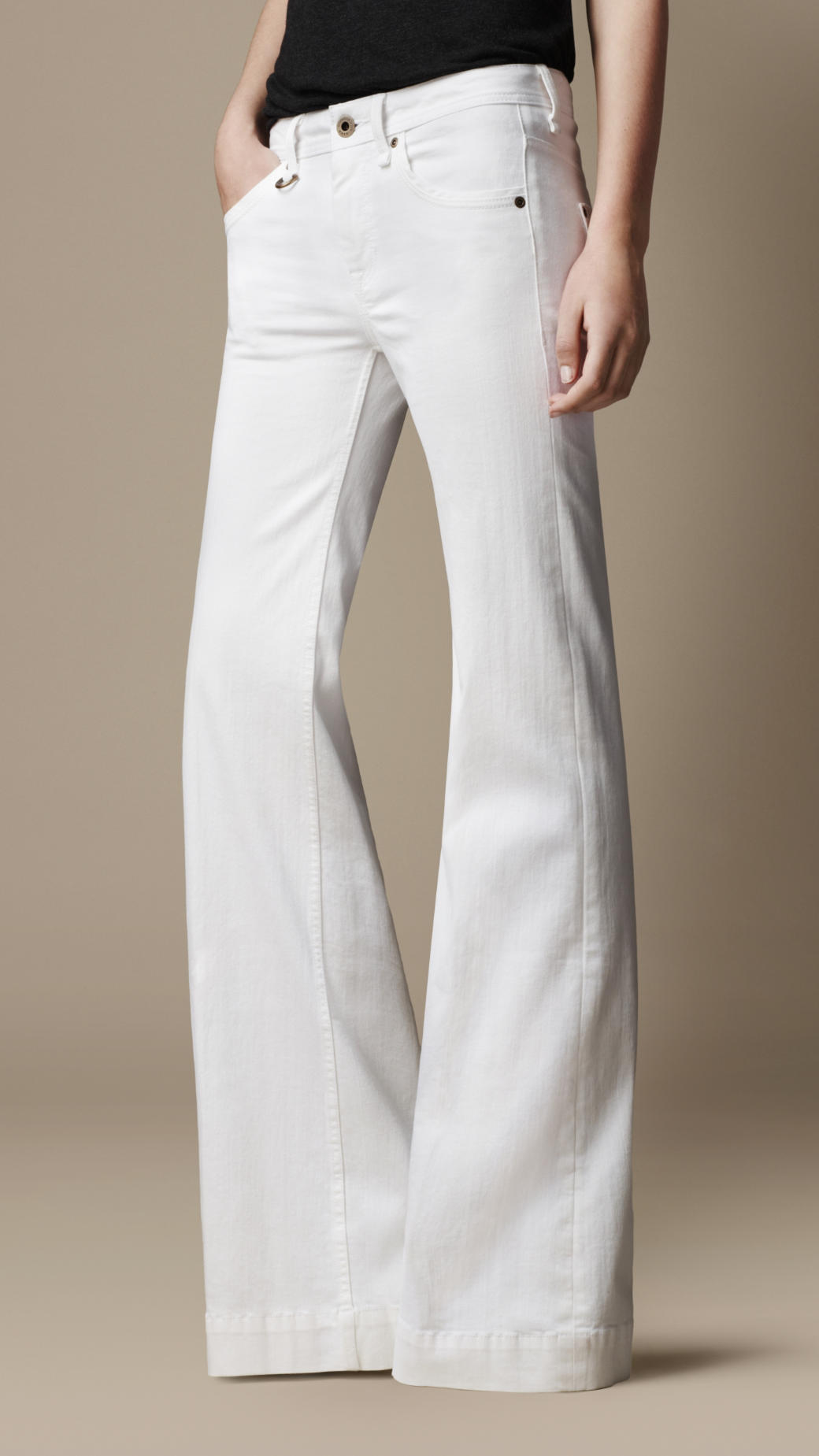 Burberry Flare Fit Jeans in White | Lyst