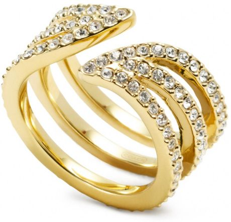 coach pave leaf wrap ring in gold gd light gold lyst