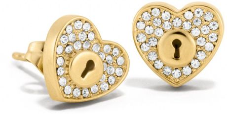 coach stud earrings coach pave lock stud earrings in gold gold gold lyst 6044