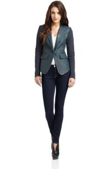 Cut 25 By Yigal Azrouel Knit Sleeve Leather Blazer - Lyst