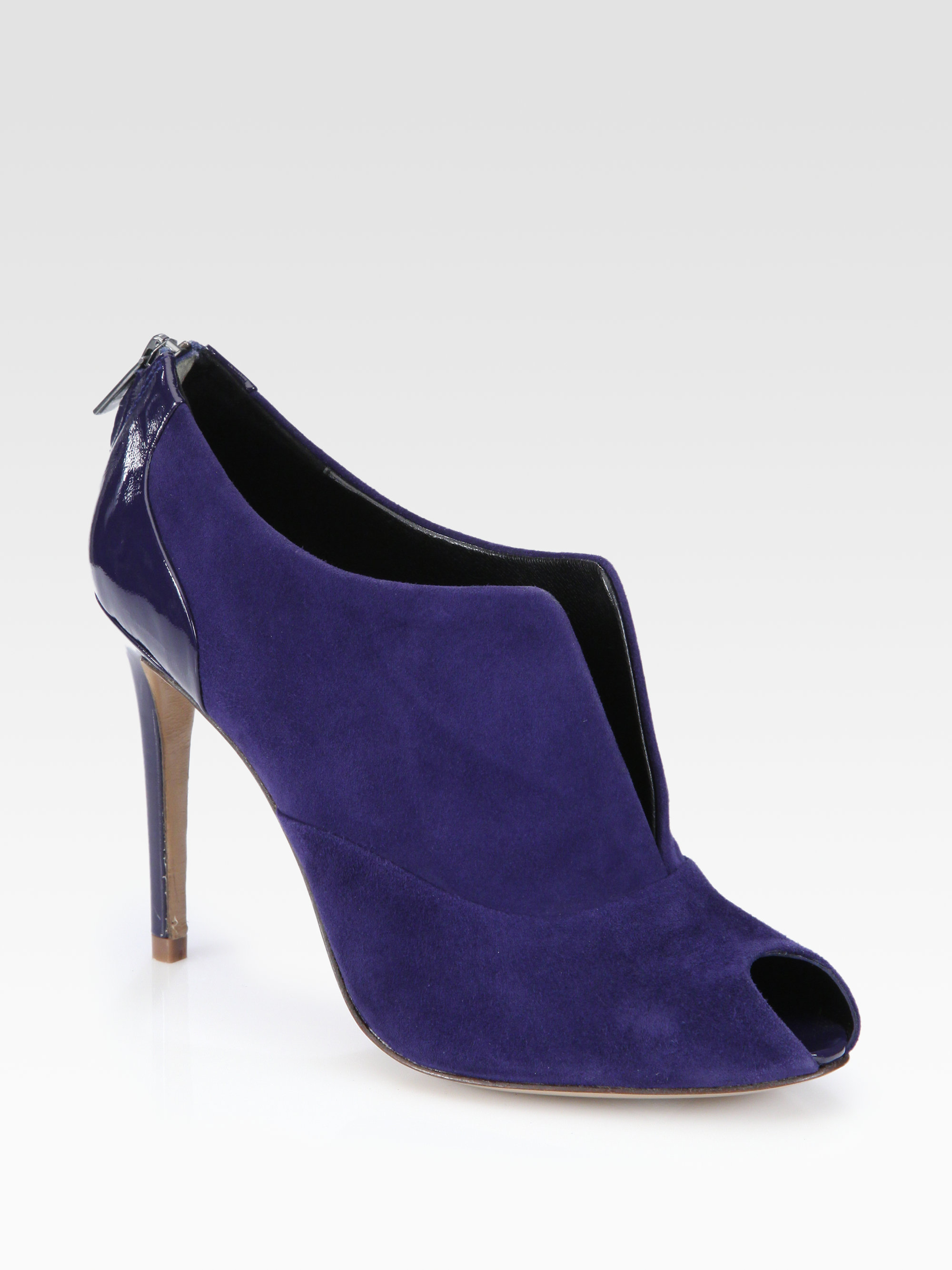 elie tahari suede patent leather ankle boots in blue lyst