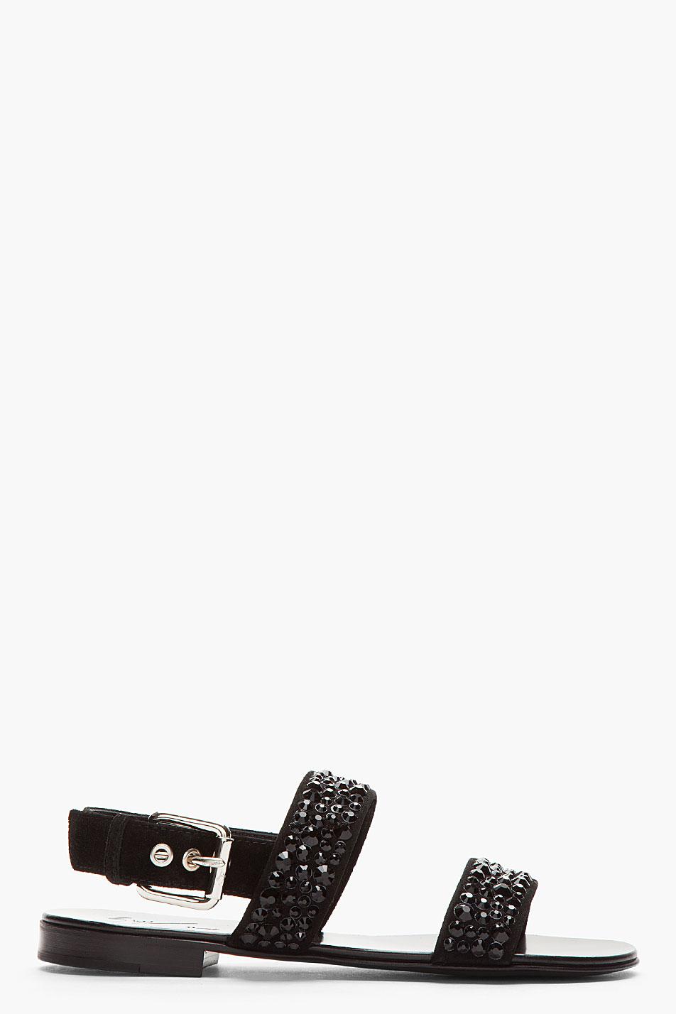 8d73756394efc6 Lyst - Giuseppe Zanotti Black Suede Crystal Studded Zak 10 Sandals ...