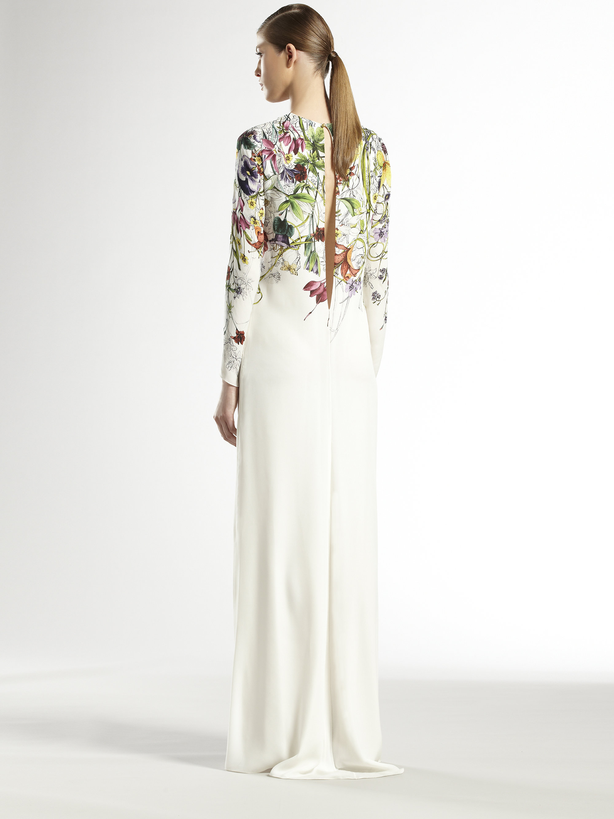 Lyst Gucci Silk Flora Infinity Gown In White