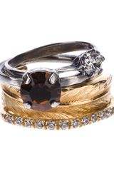 Iosselliani Stack Feather Ring Set - Lyst