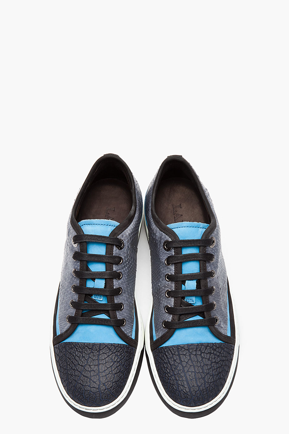 Lyst Lanvin Grey Snakeskin And Nubuck Tennis Shoes In