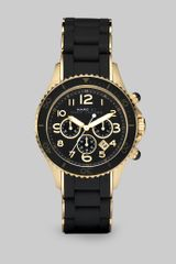 Marc By Marc Jacobs Silicone Rose Goldtone Ip Stainless Steel Chronograph Watchblack - Lyst