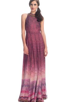 Matthew Williamson Plum Reflective Forest Chiffon Embroidered Halter Gown - Lyst