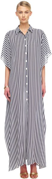 Michael Kors Striped Georgette Maxi Shirtwaist Caftan in Blue (midnight/opt whit) - Lyst