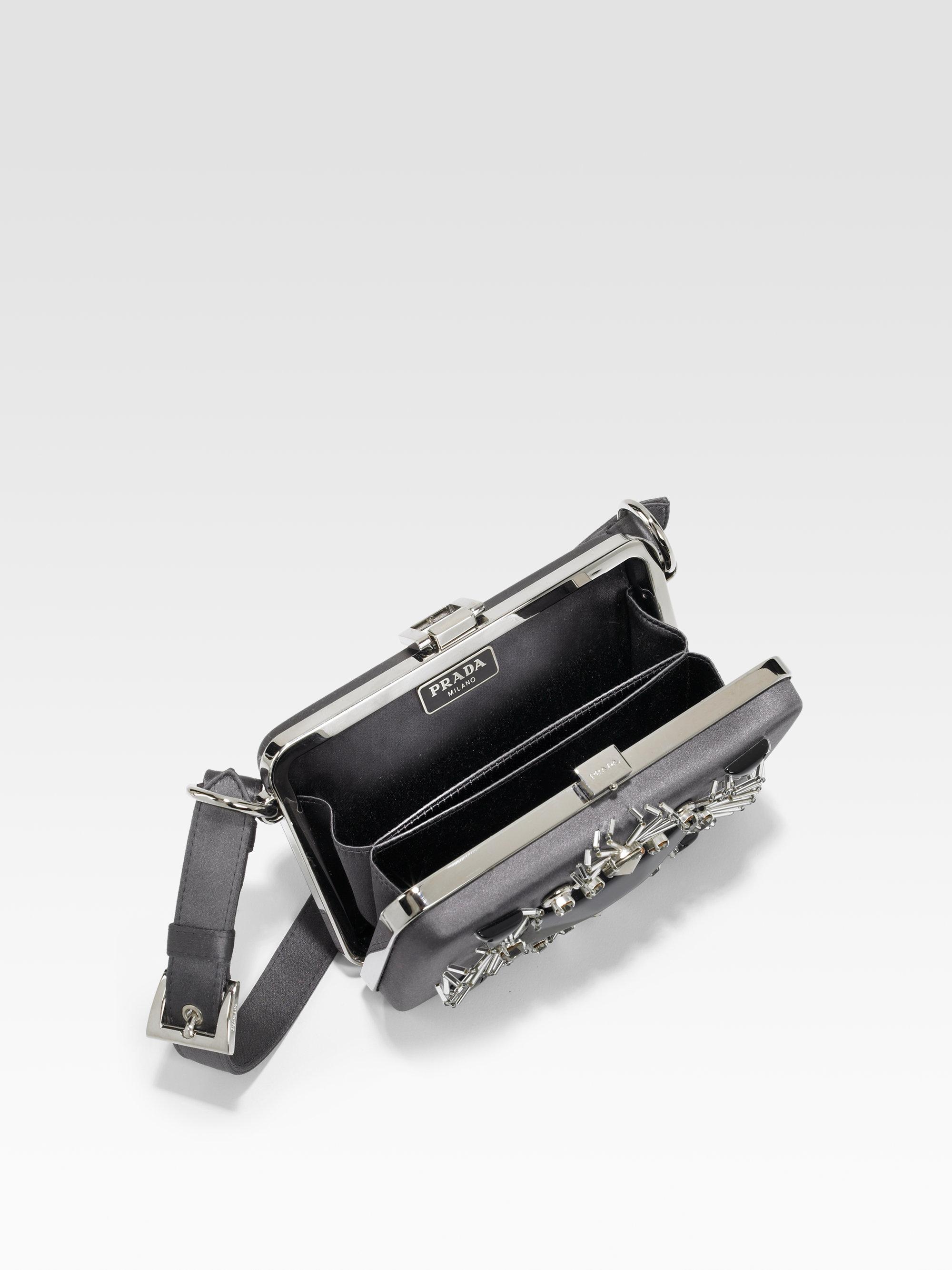 prada purse cost - Prada Satin Box Clutch in Gray (anthracite) | Lyst