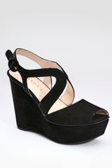 Prada Suede Platform Wedges in Black - Lyst