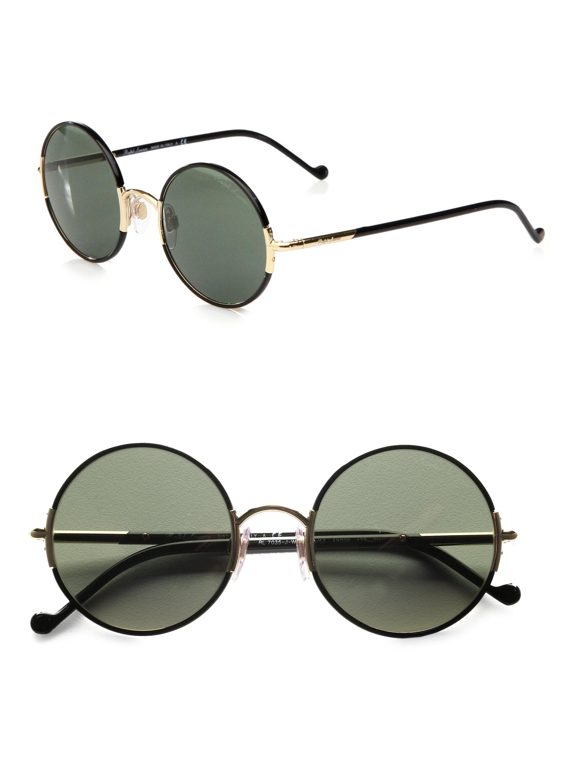 Lyst Ralph Lauren Round Metal Sunglasses In Green
