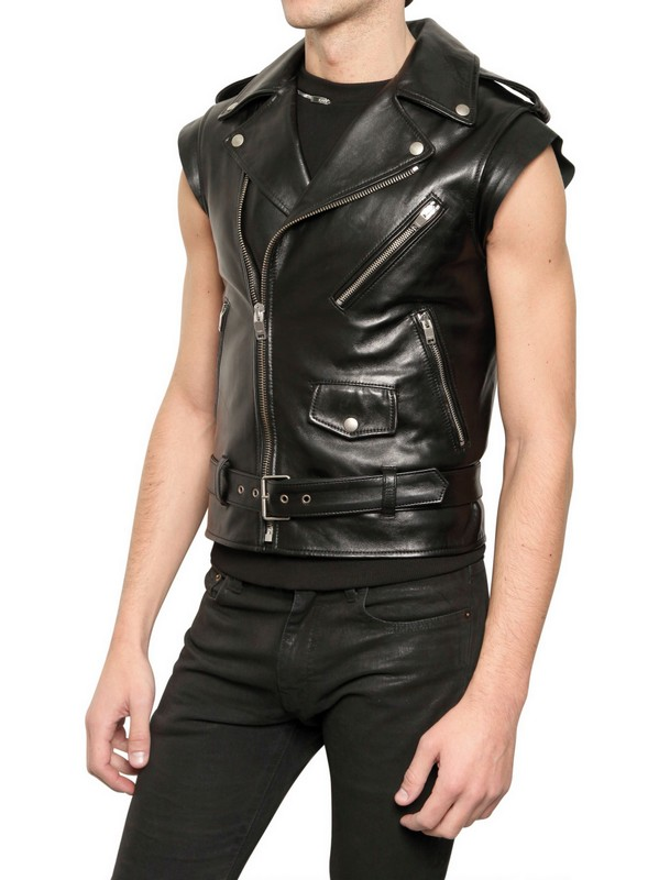 purchase newest elegant in style official sale Saint Laurent Leather Sleeveless Biker Jacket in Black for ...
